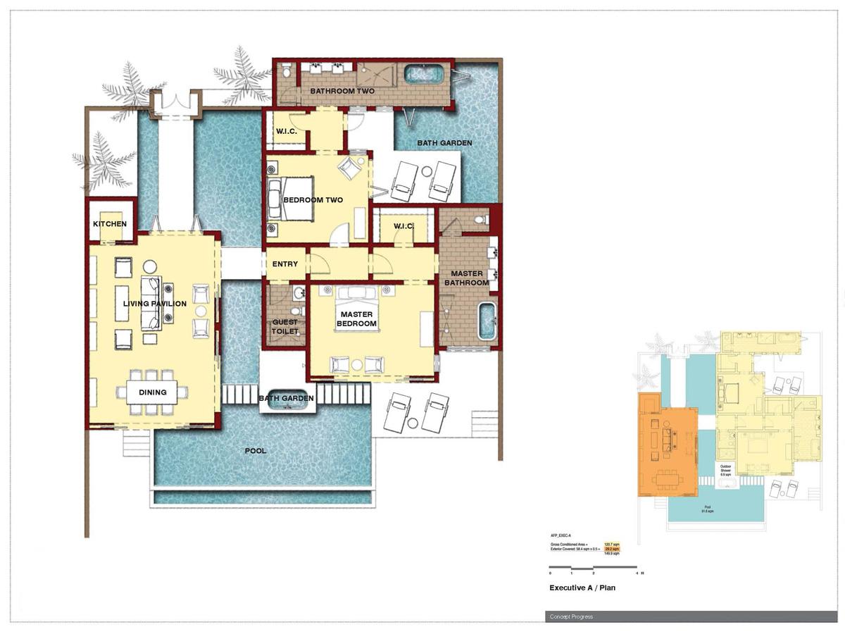 A luxurious tropical resort hotel architecture design for Villa blueprint design
